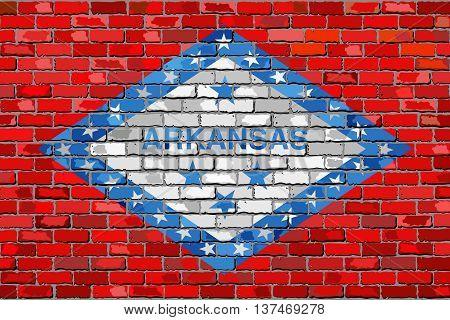Flag of Arkansas on a brick wall - Illustration,  The flag of the state of Arkansas on brick textured background,  Arkansas flag painted on brick wall, Abstract grunge Arkansas flag in brick style