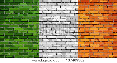 Flag of Ireland on a brick wall - Illustration,  Ireland flag on brick textured background,  Flag of Ireland painted on brick wall, Flag of Irish republic in brick style