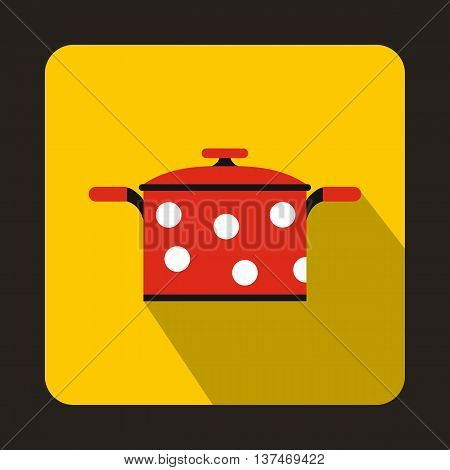Red saucepan with white dots icon in flat style on a yellow background