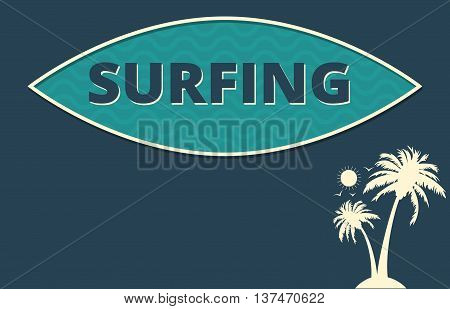 Tropical climate themed surfing vector poster design