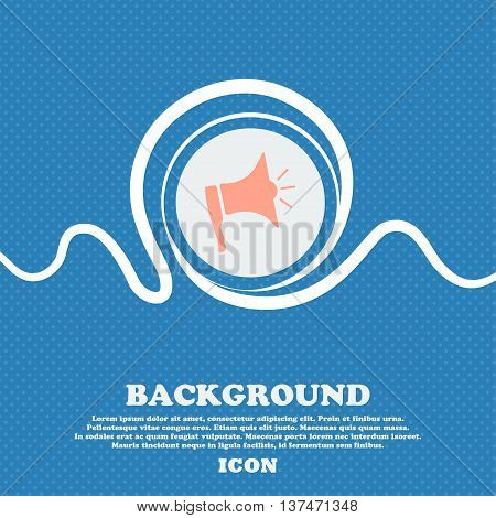 Megaphone Soon Icon. Loudspeaker Symbol. Blue And White Abstract Background Flecked With Space For T