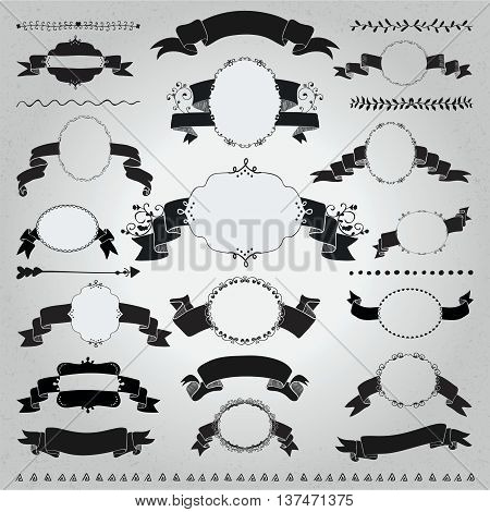 Collection of Hand Drawn Black Doodle Vintage Frames with Ribbons, Banners. Sketched Rustic Decorative Outlined Badges and Lalbels, Dividers on Textured Background. Vector Illustration.
