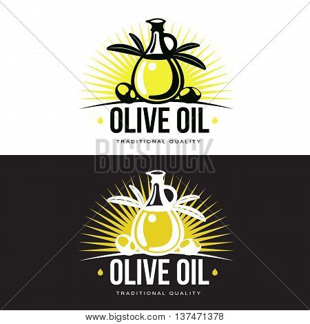 Logo Set about olive oil, illustration logos isolated on a white background, simple logos with olives and olive oil, black and yellow color design symbols