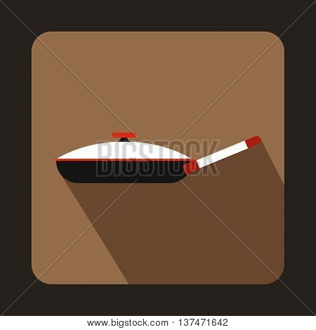 Black frying pan with white lid icon in flat style on a coffee background