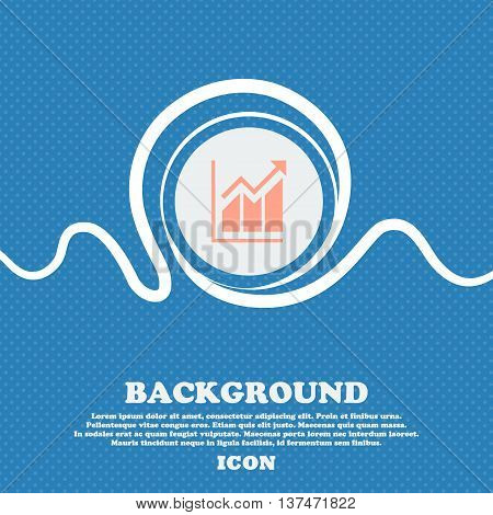 Growing Bar Chart Icon Sign. Blue And White Abstract Background Flecked With Space For Text And Your