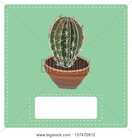 Cactus plant in clay pot . Hand drawn vector illustration.