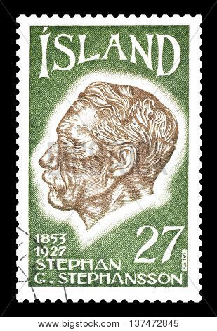 ICELAND - CIRCA 1975 : Cancelled postage stamp printed by Iceland, that shows Stephen Stephensson.