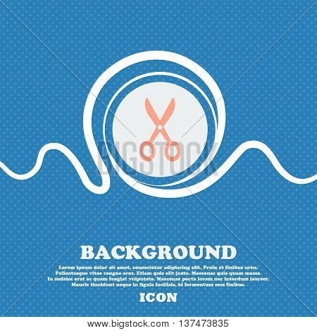 Scissors Icon Sign. Blue And White Abstract Background Flecked With Space For Text And Your Design.
