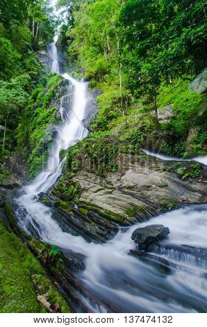 Deep forest Waterfall in the north of Thailand