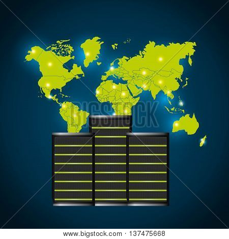 Technology and data base design represented by web hosting and map of earth icon. Colorfull illustration. Blue background
