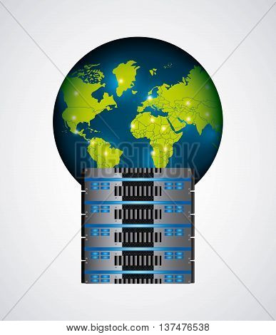 Technology and data base design represented by web hosting with planet icon. Colorfull and isolated illustration.