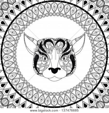 Animal and Ornamental predator concept represented by dog  icon. Draw illustration. Black and White design