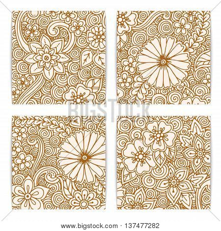 Set of floral card. Hand drawn artwork with abstract flowers. Background for web, printed media design. Mehendi henna doodle style. Banner, business card, flyer, invitation, greeting card, postcard.