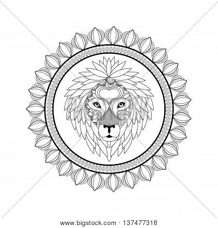 Animal and Ornamental predator concept represented by Lion icon. Draw illustration. Black and White design