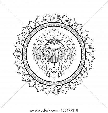 Animal and Ornamental predator concept represented by Lion icon. Draw illustration. Black and White design