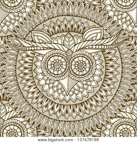 Birds mandala theme. Owl seamless mandala pattern with abstract ethnic aztec ornament pattern. Owl banner. Zentangle inspired. Stylized ethnic owl head. Monochrome grunge pattern.