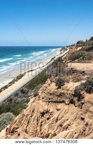 Sand beach along Del Mar coast, California