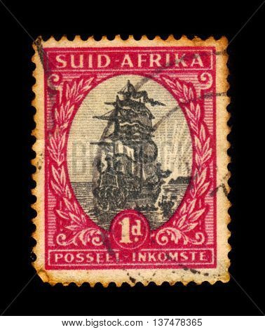 SOUTH AFRICA - CIRCA 1926: A stamp printed in South Africa shows Drommedaris, ship of Jan van Riebeeck, was a Dutch colonial administrator in Cape Town, circa 1926