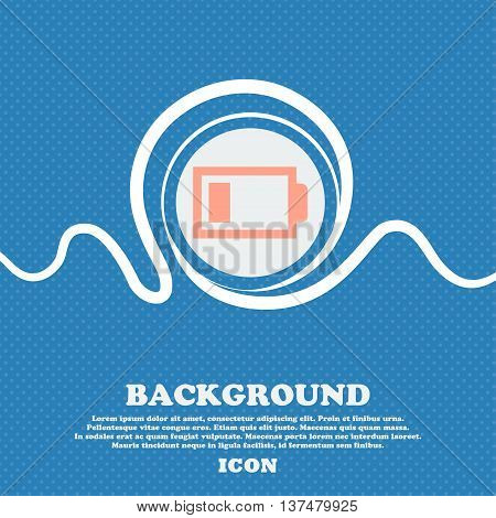 Battery Low Level Sign Icon. Electricity Symbol. Blue And White Abstract Background Flecked With Spa