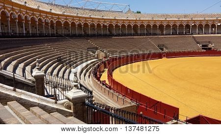 Sevilla, Spain - June 22, 2016: Bullring in Seville, Spain. Photo without humans and bulls.