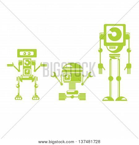 Flat design style robots and cyborgs. robot icon collection