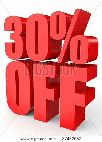 Discount 30 Percent Off. 3D Illustration On White Background.