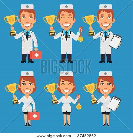 Vector Illustration, Doctor and Nurse Holding Cup and Medal, Format EPS 8
