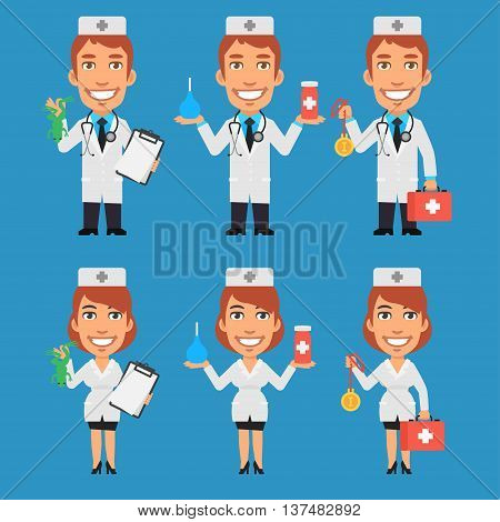 Vector Illustration, Doctor and Nurse Holding Enema Suitcase Frog, Format EPS 8