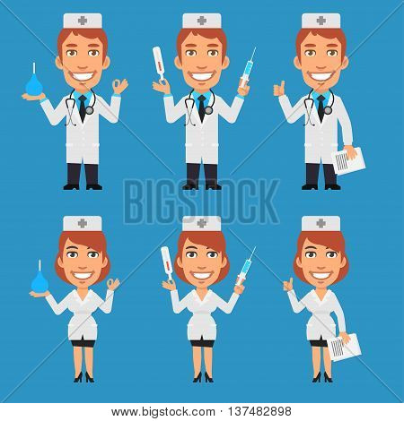 Vector Illustration, Doctor and Nurse Holding Enema Syringe Thermometer, Format EPS 8