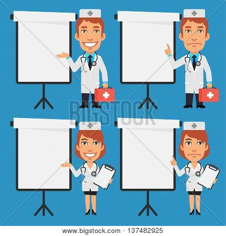 Vector Illustration, Male Doctor and Female Doctor Point to Flip Chart, Format EPS 8