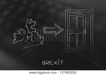 Uk Next To An Exit Door With Arrow, Brexit