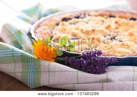 Bunch Of Lavender Blooms In Front Of Berry Pie