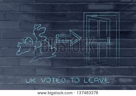 Gb Next To An Exit Door With Arrow, Uk Voted To Leave