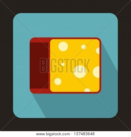 Cheese icon in flat style on a light blue background