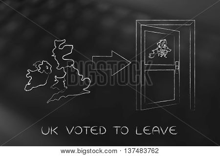 Gb Next To An Europe's Exit Door With Arrow, Uk Voted To Leave