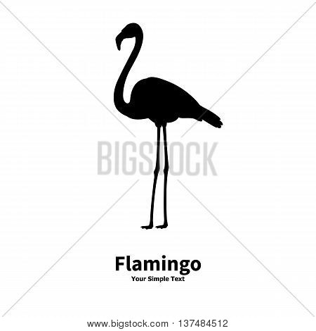 Vector illustration of a silhouette of a flamingo on an isolated white background. Flamingo side view profile.