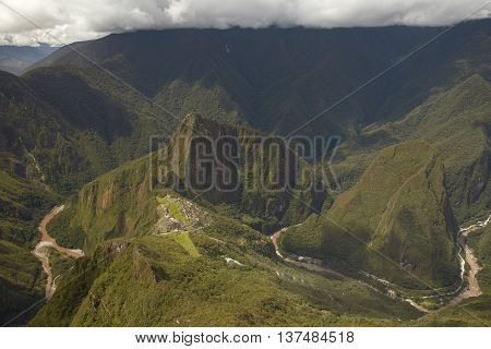 Lost Incan City of Machu Picchu and Wayna Picchu near Cusco in Peru. Peruvian Historical Sanctuary and UNESCO World Heritage Site Since 1983. One of the New Seven Wonders of the World