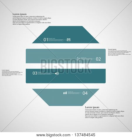 Illustration infographic template with shape of octagon. Object horizontally divided to four parts with blue color. Each part contains Lorem Ipsum text number and simple sign. Background is light.