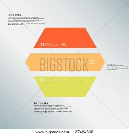 Illustration infographic template with shape of hexagon. Object horizontally divided to three parts with various colors. Each part contains Lorem Ipsum text number and simple sign. Background is blue.