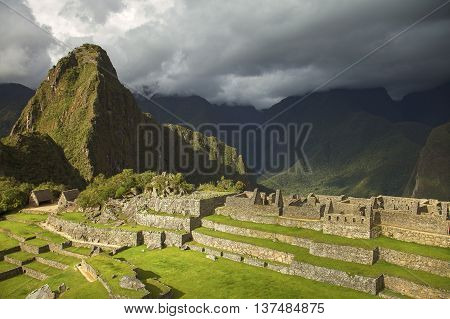 Ruins Of Lost Incan City Machu Picchu And Wayna Picchu Near Cusco In Peru