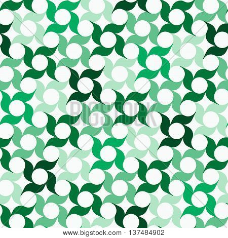 Abstract background with regular pattern of stylized pinwheel-shaped flowers. Seamless repeat.