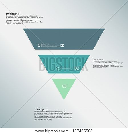 Illustration infographic template with shape of triangle. Object horizontally divided to three parts with various colors. Each part contains Lorem Ipsum text number and simple sign. Background is blue.