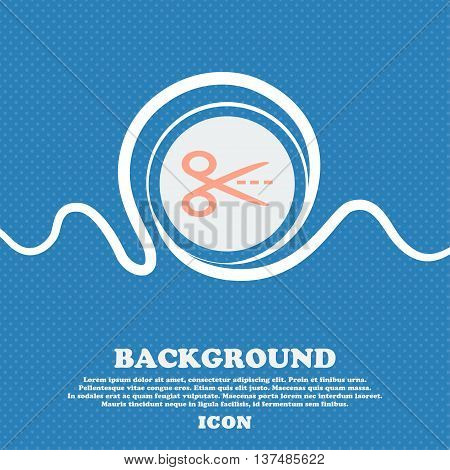 Scissors With Cut Dash Dotted Line Sign Icon. Tailor Symbol. Blue And White Abstract Background Flec