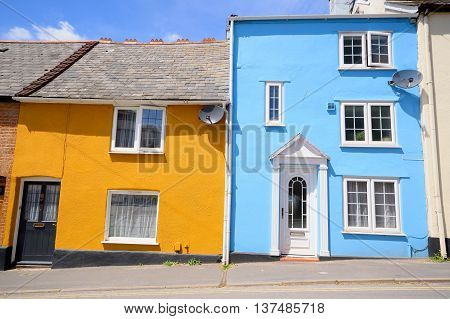 Townhouses with painted facades in Exeter Devon