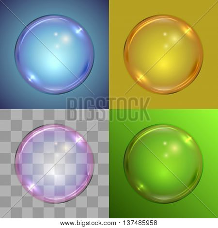 Soap bubble vector template on different backgrounds, radial gradient, solid color, checker, linear gradient.