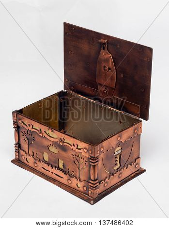 Iron bronze treasure chest, isolated on a white background