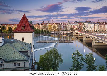 Prague. Image of Prague riverside during summer sunset.