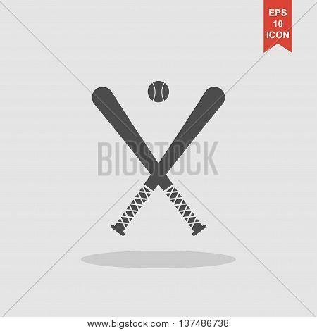 Vector Crossed Baseball Bats And Ball Set