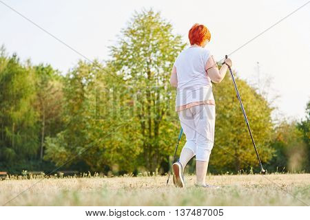 Senior woman makes a nordic walk in the nature for rehab