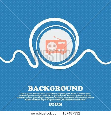 Retro Radio Sign. Blue And White Abstract Background Flecked With Space For Text And Your Design. Ve